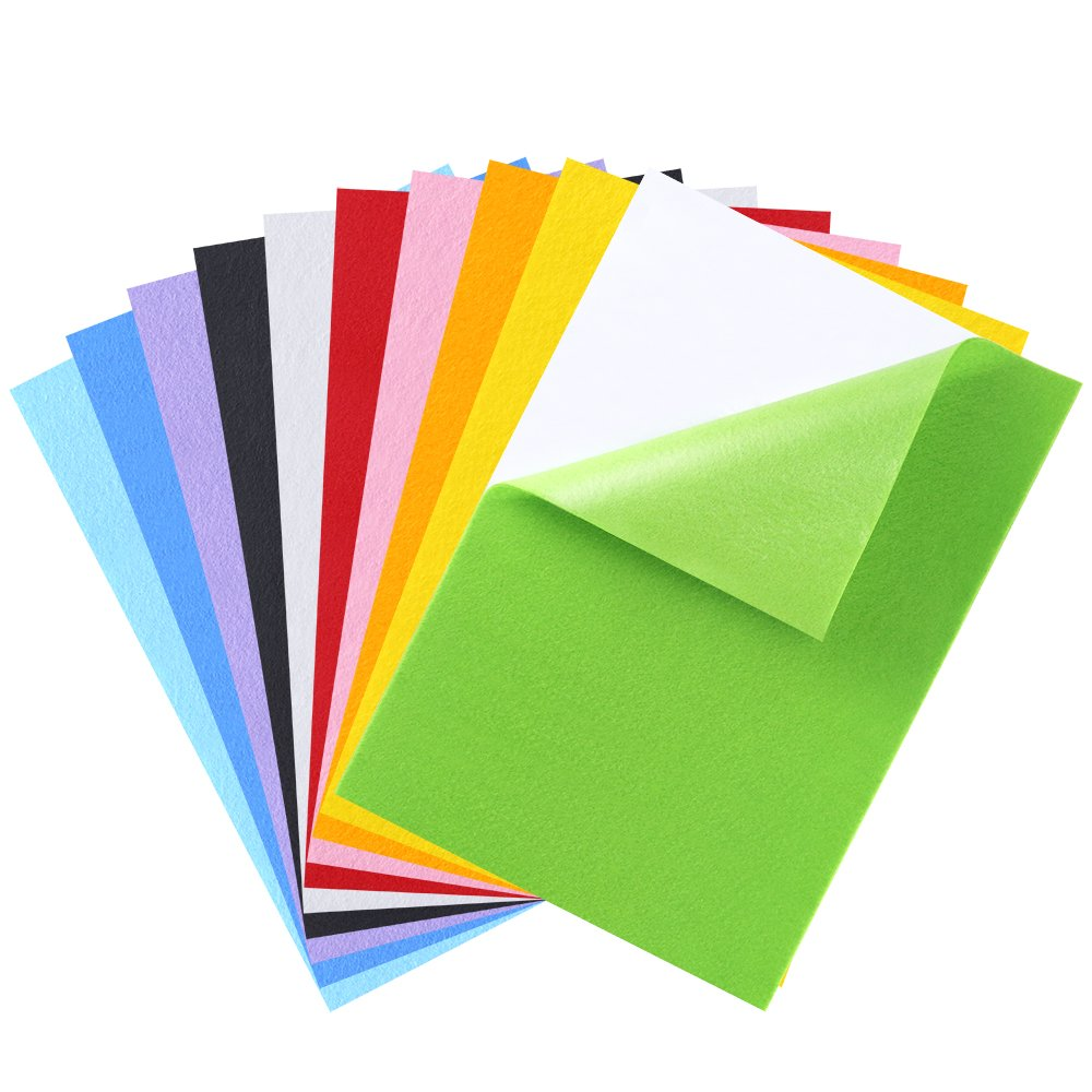 Caydo 10 Pieces 10 Colors Adhesive Back Felt Sheets Fabric Sticky Back Sheets, 8.3 by 11.8, for A4 Size, Self-Adhesive, Durable and Water Resistant, Multi-Purpose, Ideal for Art and Craft Making 8.3 by 11.8 4336912910
