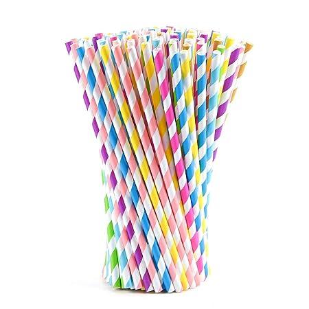 FEPITO 200 PCS Pajitas de papel pajitas de colores de rayas ...