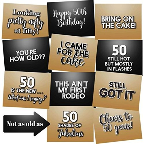 50th Birthday Photo Booth Props Accessories Kit Party Signs - Set of 12]()