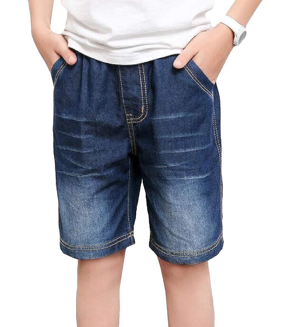Pandapang Boys Summer Elastic Waist Knee Length Faded Pockets Jeans Shorts
