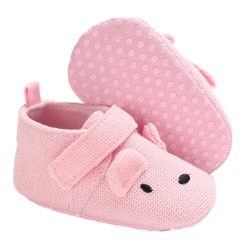 Pink 11cm Alamana Fashion Lovely Cotton Cloth Infant Baby Girl Soft Sole Prewalker Toddler Shoes