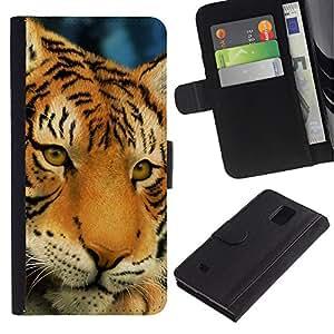 """Samsung Galaxy Note 4 IV / SM-N910 , la tarjeta de Crédito Slots PU Funda de cuero Monedero caso cubierta de piel ("""" Tiger Sad Sleepy Tired Big Feline Cat"""")"""