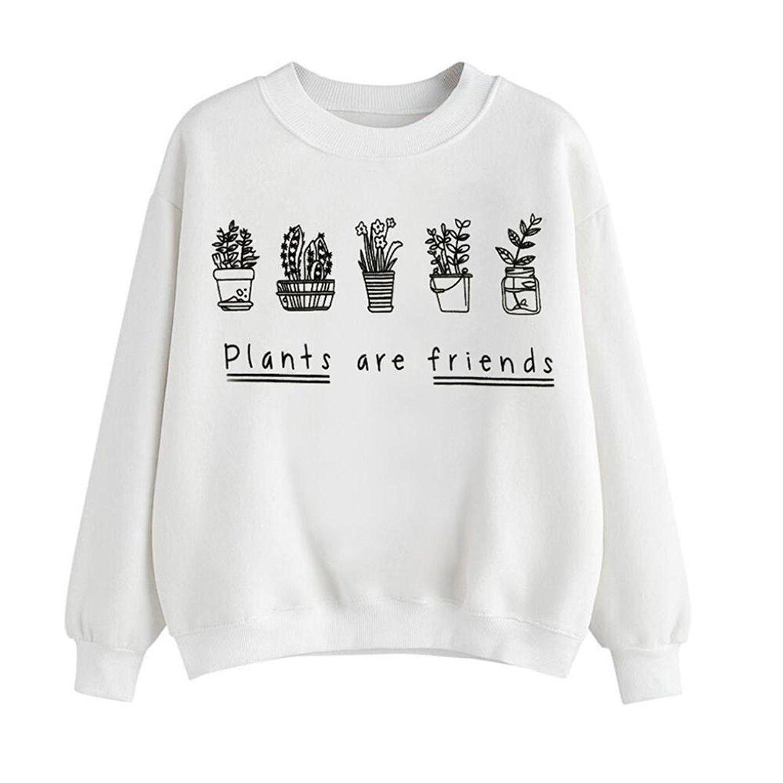 Mingfa.y Women Autumn Winter Long Sleeve Letter Print Plants Are Friends Sweatshirt Pullover Tops Blouse