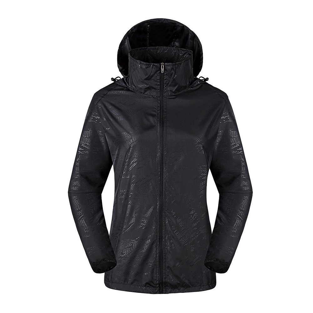 LeoVera Unisex UV Protect Quick-Dry Lightweight Windbreaker Outdoor Hoodie Skin Coat Skin Jackets LVPFY118-Black-XL