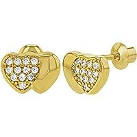 18k Gold Plated Clear Children's Heart Screw Back Earrings Baby Kids