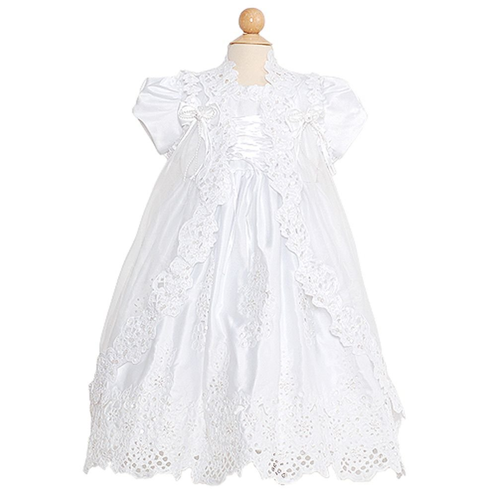 Rain Kids White Puff Sleeve Sequin Pearl Baptism Dress Baby Girls 6M The Rain Kids