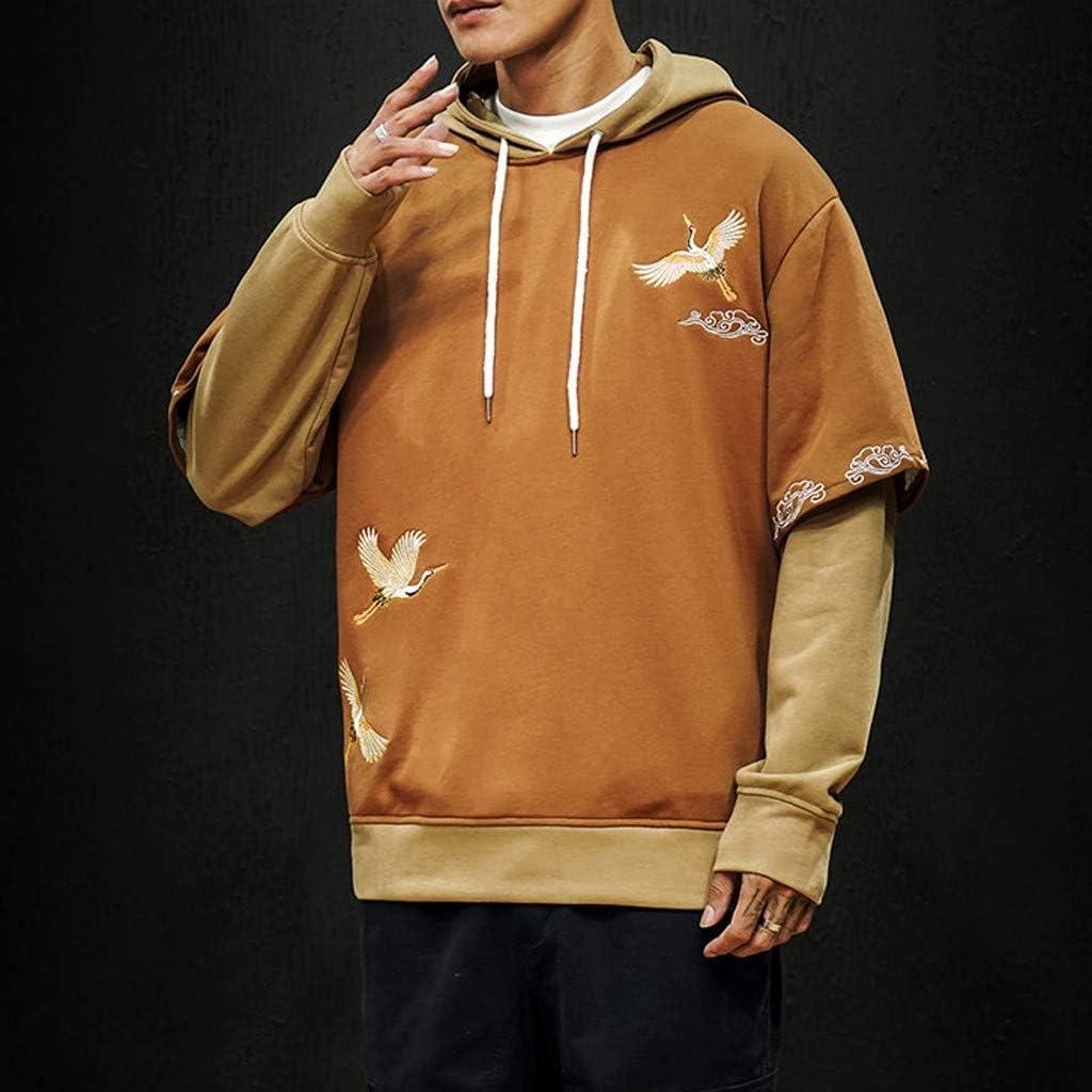 Stoota Mens Medium-Weight Fleece Pullover Loose-fit Sweatshirt Fashion Print Drawstring Hoodie Long Sleeves Tops