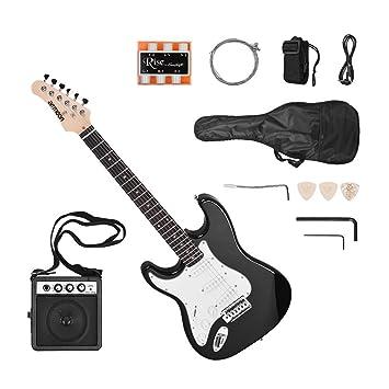 Ammoon ammoon guitarra eléctrica sólido madera de Paulownia cuerpo arce Cuello 21 trastes 6 correa de cadena con bolsa de altavoz silbato afinador guitarra ...