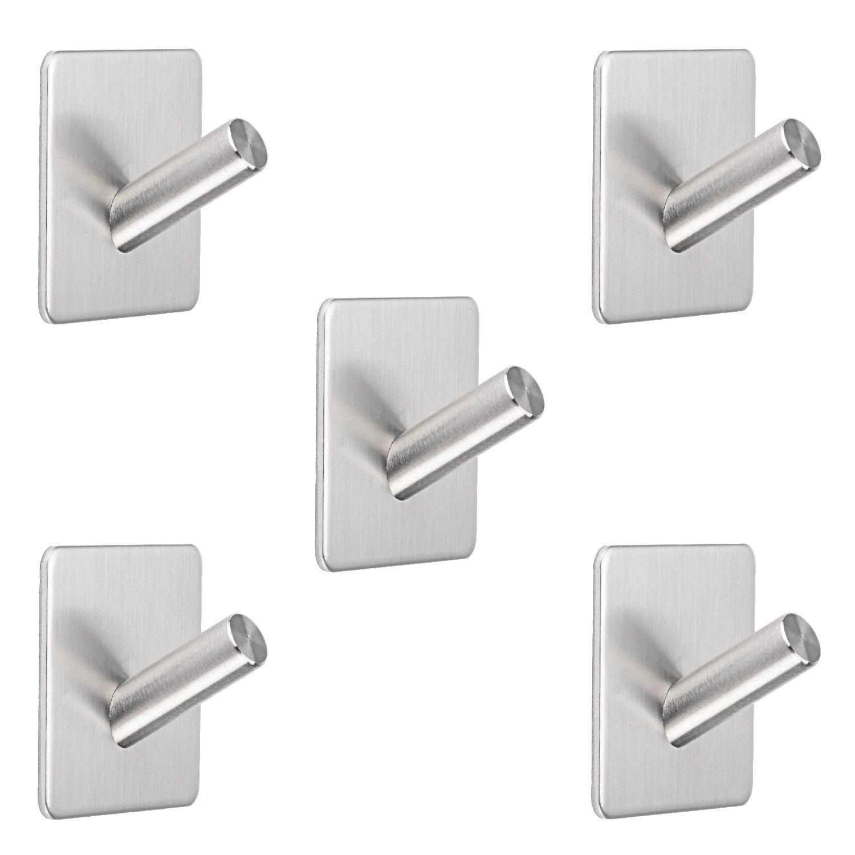 LiveComfort [5-Pack Self-Adhesive Robe Towel Hook, Waterproof Stainless Steel Robe/Towel/Coat Hook for Bathroom, Kitchen, Bedroom and Garage Use (5 Packs)