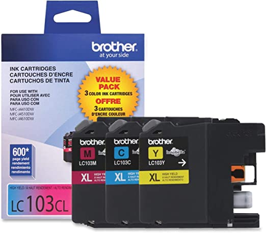 Brother LC103 Ink Cartridge (Cyan,Magenta,Yellow , 3-Pack)