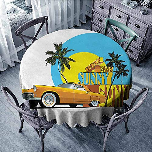 ScottDecor Garden Round Tablecloth Retro,Vintage Car in Magic City Miami with Exotic Coconut Trees Sunny Day Beach,Yellow Blue Orange Dinning Tabletop Decoration Diameter 54