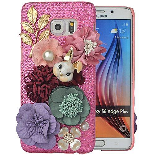 ellphone Hard Case For Samsung Galaxy S7,3D Handmade Crystal Cute Rabbit Flower Accessary Design Phone Cover,Light Pink ()