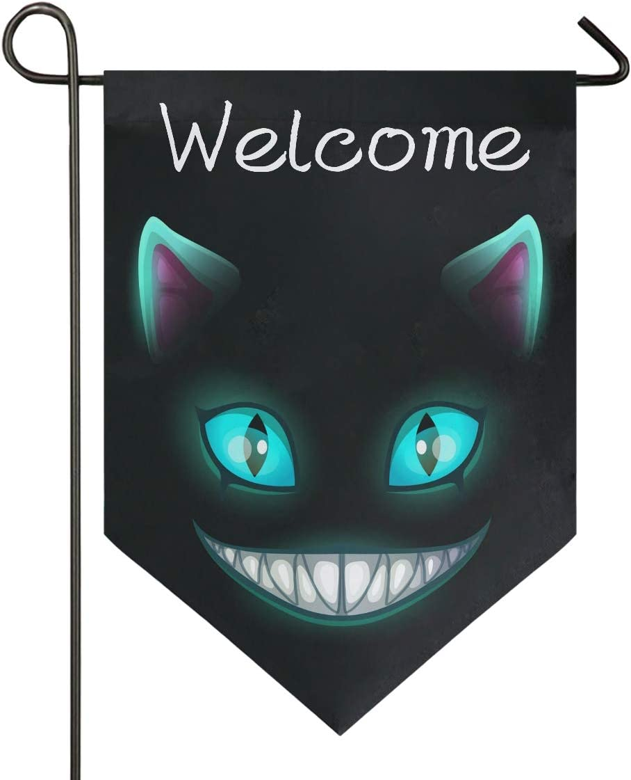 Oarencol Scary Laugh Cat Face on Black Cheshire Halloween Garden Flag Welcome Double Sided Home Yard Decor Banner Outdoor 12.5 x 18 Inch