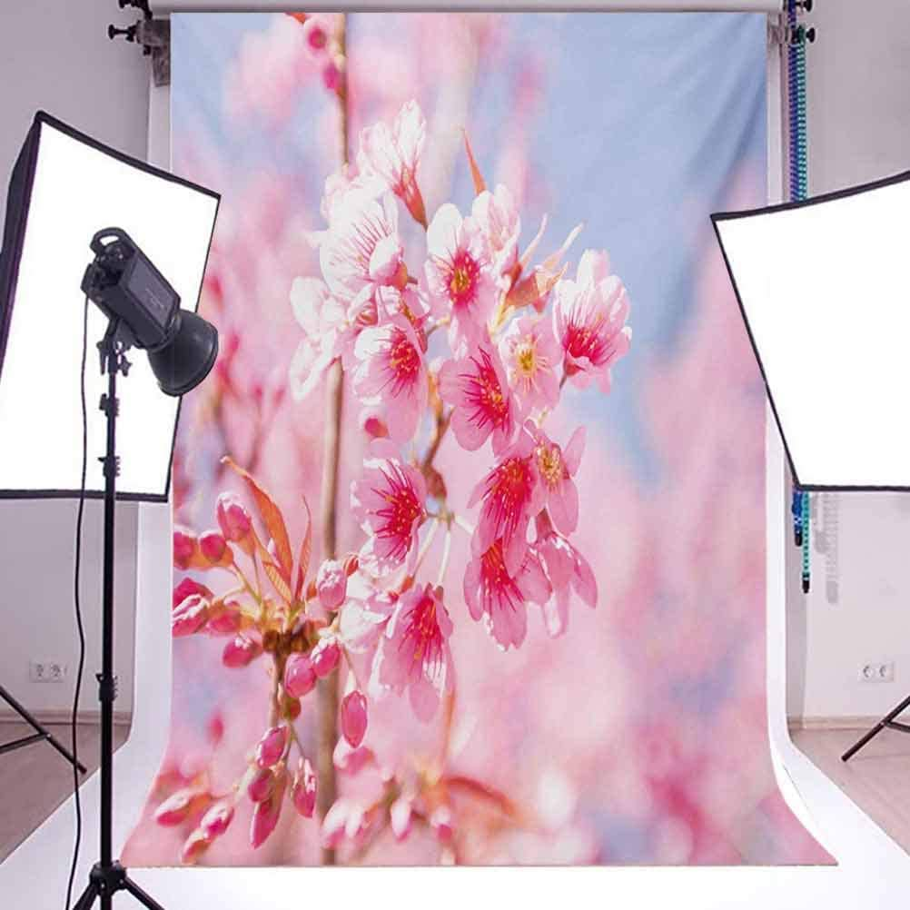 Floral 10x12 FT Photo Backdrops,Sakura Blossom Branches Flower Essence Fragrance Nature Inspired Picture Background for Party Home Decor Outdoorsy Theme Vinyl Shoot Props Pale Pink Purplegrey