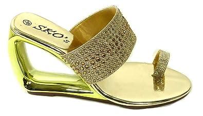 5bb40966d45a Womens Ladies Low Wedge Sandals Diamante Mule Toe Post Slip On Shoes Size 3  4 5