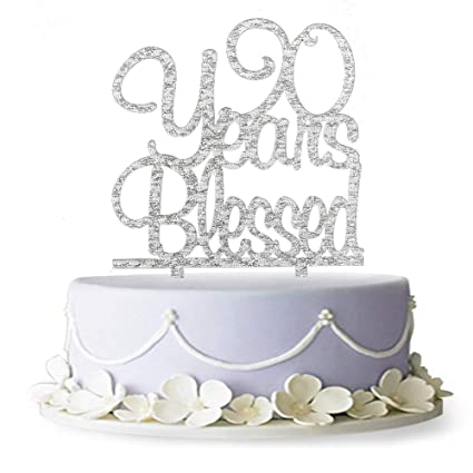 Amazon 90 Years Blessed Acrylic Cake Topper90th Birthday