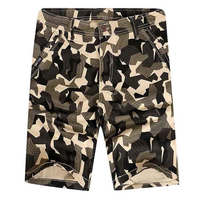 YEBIRAL Pantalones Cortos Hombre, Verano Casuales Camuflaje Cargo ...