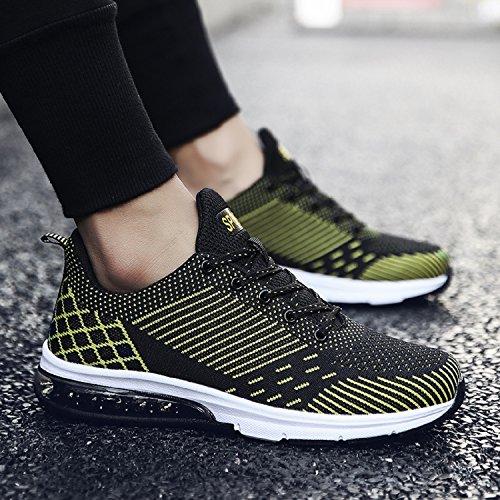 LILY999 Unisex Herren Damen Sportschuhe Laufschuhe Bequeme Atmungsaktiv Sneakers Turnschuhe Fitnessschuhe Gelb
