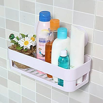 Hemiza Removable Reusable Kitchen,Sink, Bathroom Shelf Rack Storage Organizer Holder Basket with Suctioin Cup (Multi Color)