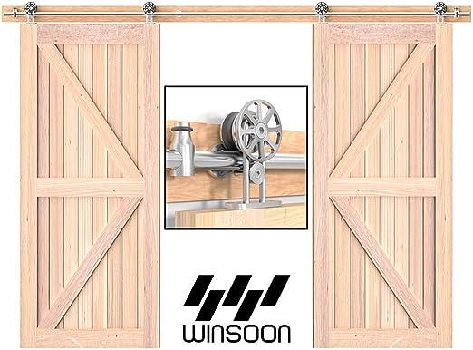 winsoon moderno estilo americano doble de acero inoxidable rodillo de puerta corrediza de granero madera Hardware Track Set colgante para armario armario Rail Kit: Amazon.es: Bricolaje y herramientas