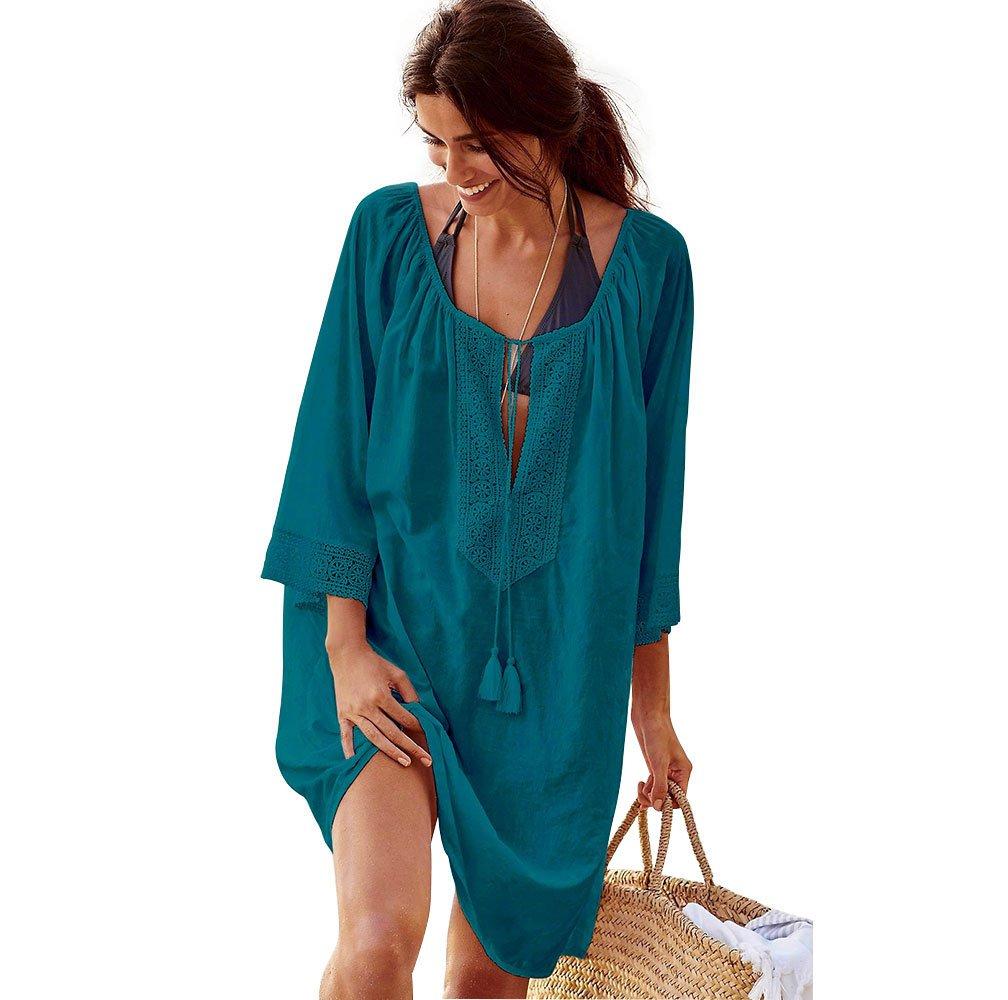 KIKIGOAL Women's Bathing Suits Cover up V-Neck Tassel Plus Size Loose Sleeve Beach Tops Swim Wear (Green)