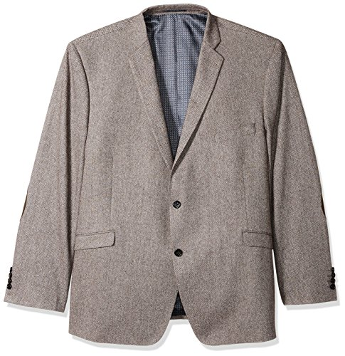 U.S. Polo Assn. Men's Big and Tall Wool Blend Sport Coat, Brown Herringbone, 56 Regular