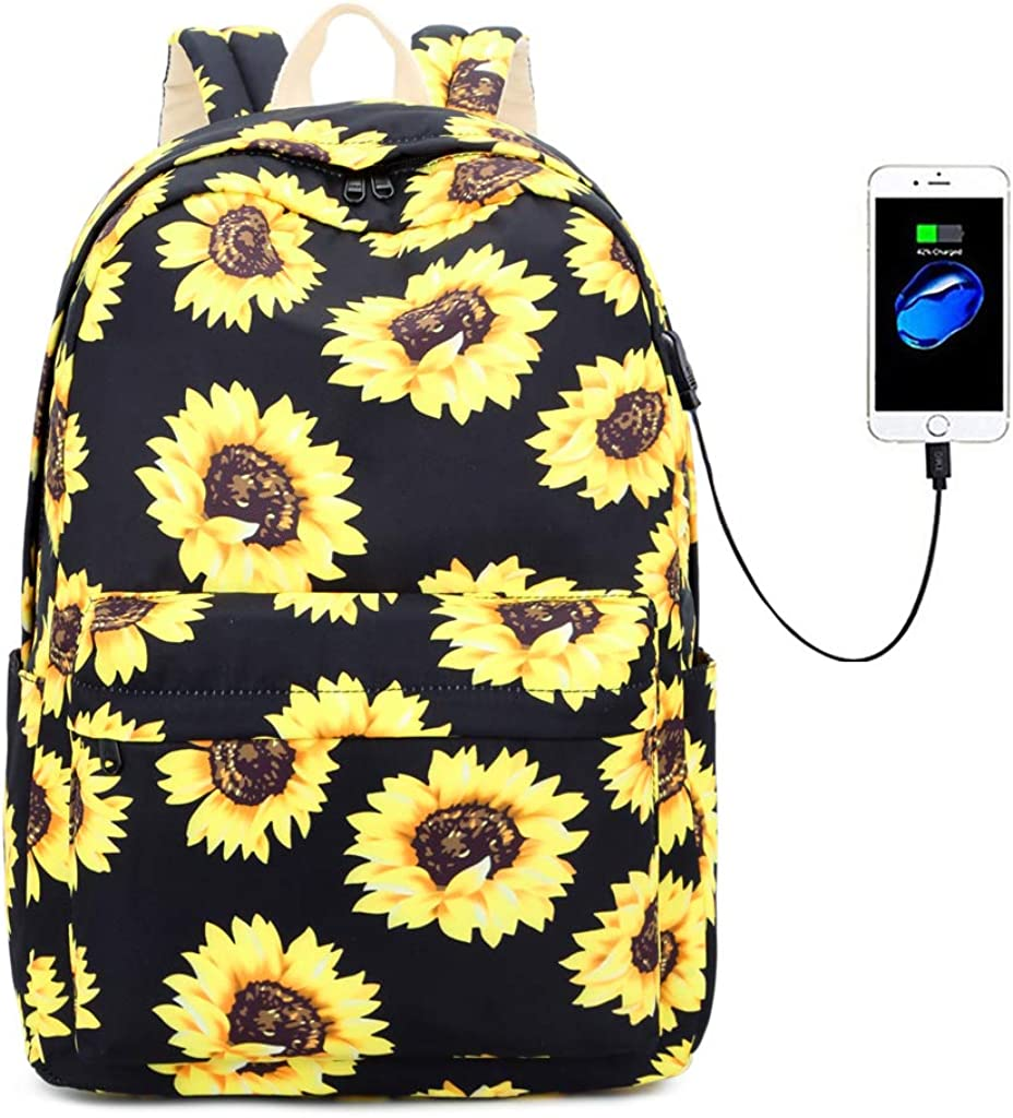 """Lmeison Floral Backpack Bookbags with USB Charging Port Fit for 15.6"""" Laptop"""