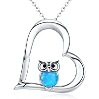 "Jewellery for Women Gifts for Girls Neckalce Pendant for Women 925 Sterling Silver Two Tone Owl Heart Chain for Women 18"" Gifts for Women Gift Packaging"