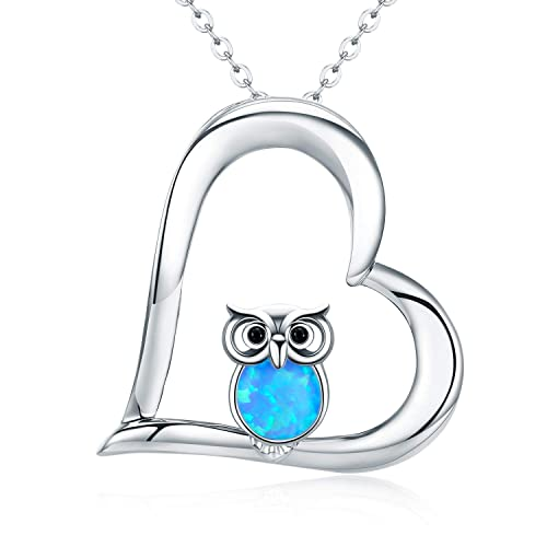 8b42fd719386a Cuoka Graduation Gift Owl Gifts Silver Opal Owl Necklace Best Gifts for Owl  Lovers Wisdom Necklace for Her