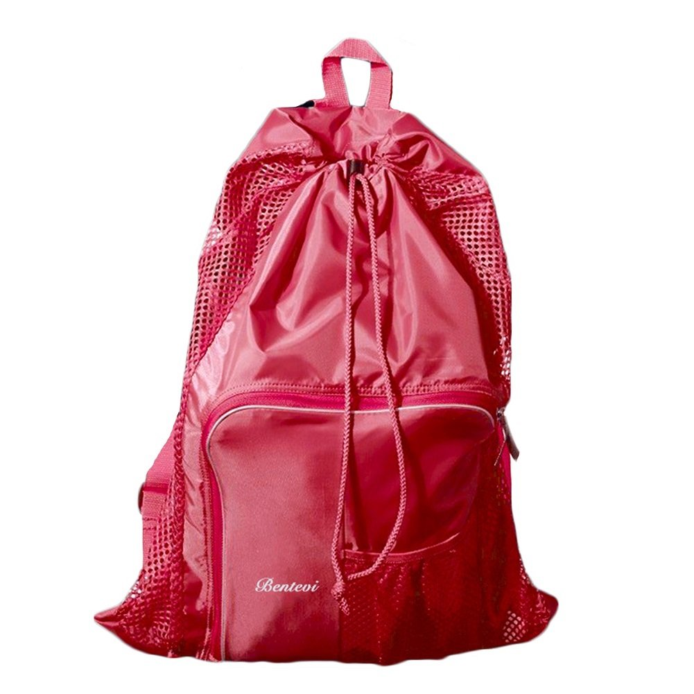 Mesh Beach Bags Equipment Drawstring With Shoulder Straps For Swimming (Pink)