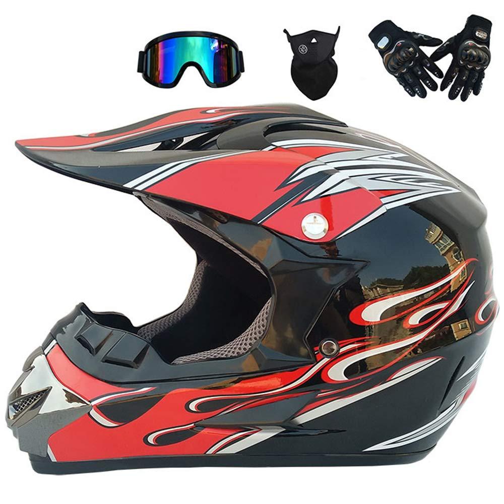 16 Stili Disponibili Certificazione Caschi da Corsa da Strada Integrale MRDEER/® Casco da Motocross Set Inclusi Occhiali Maschera Guanti off-Road Casco Unisex D.O.T