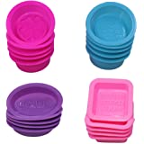 20 Pcs Silicone Soap Making Molds Square Round Oval Shaped FineGood Soft Cupcake Muffin Baking Pan for DIY Homemade Craft Food Grade - Pink Blue Rose Red Purple