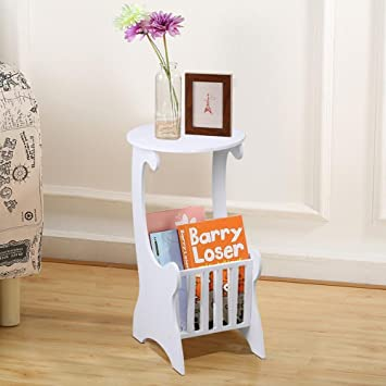 Popamazing White Round Side Table With Magazine Shelf For Living Room Small  Coffee Table