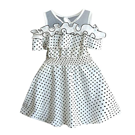 69ae5d8d956f Fineser Baby Clothes Little Girls Dress, Kids Girls Short Sleeve Lace  Parchwork Ruched Dots Party