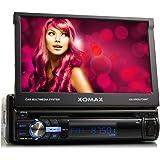 """XOMAX XM-VRSU720BT Autoradio / Moniceiver avec fonction sans fil Bluetooth + Ecran tactile 7""""/18 cm + Port USB (jusqu'à 128 GB!) e fente pour cartes SD (jusqu'à 128 GB!) pour fichiers MP3, WMA, AVI, DIVX, MPEG4, etc. + 3 couleurs d'éclairage : rouge, bleu, rose + Entrée AUX + Dimensions standard simple DIN (DIN1) + Tiroir métallique et télécommande inclus"""