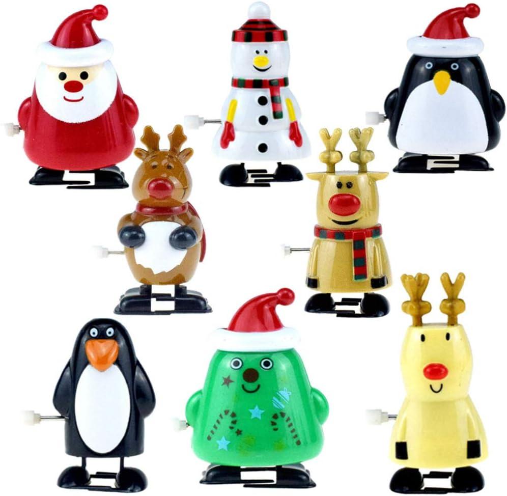 Toyvian 8pcs Wind Up Toys Penguin Christmas Tree Santa Claus Snowman Reindeer Elk Clockwork Toys Figure Ornaments Christmas Holiday Party Supplies Favors Goodie Bag Fillers