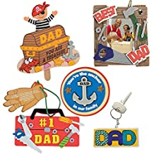 "Fathers Day DIY Craft Kit; 1 ""Dad"" Tool Picture Frame, 1 Key Chain, 1 Anchor Magnet Kit, 1 #1 Dad Tool Chest Ornament & 1 Pirate Pop-Up Craft 