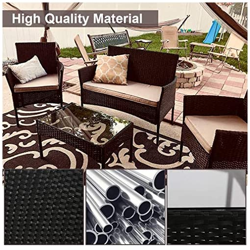 Garden and Outdoor Wicker Patio Furniture 3 Piece Patio Set Chairs Wicker Outdoor Rattan Conversation Sets Bistro Set Coffee Table for Yard…