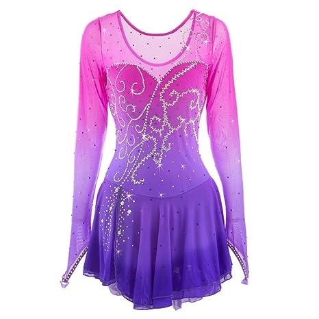 Figure Skating Competition Costume Nylon Crystals Skating Dress Long Sleeved Dark Blue Heart/&M Handmade Ice Skating Dress for Women and Girls