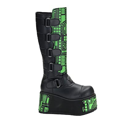 Mens UV Cyber Wedge Boots Neon Black Light Panel Gothic Platforms MENS SIZING