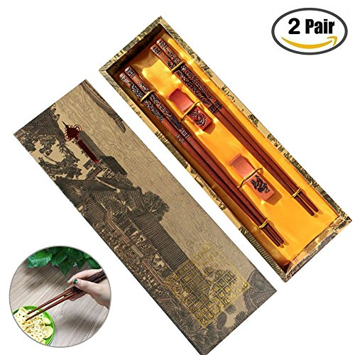 [2 Pairs] Chinese Dragon Chopsticks Gift Sets, MHKBD Wooden Chopsticks with Carving Design Handmade Reusable Natural Wood Chopsticks with 2 Rests and Case Wedding Gift Valentines Present, 9 Inch