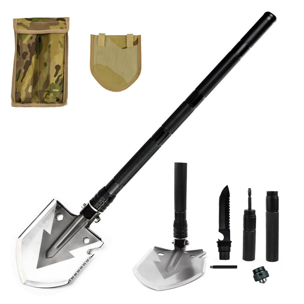 ICE SEA Military Folding Shovel Multitool Tactical Entrenching Tool for Camping/Backpacking/Hiking/Car/Snow-Portable, Multifunctional, Compact Emergency Kit