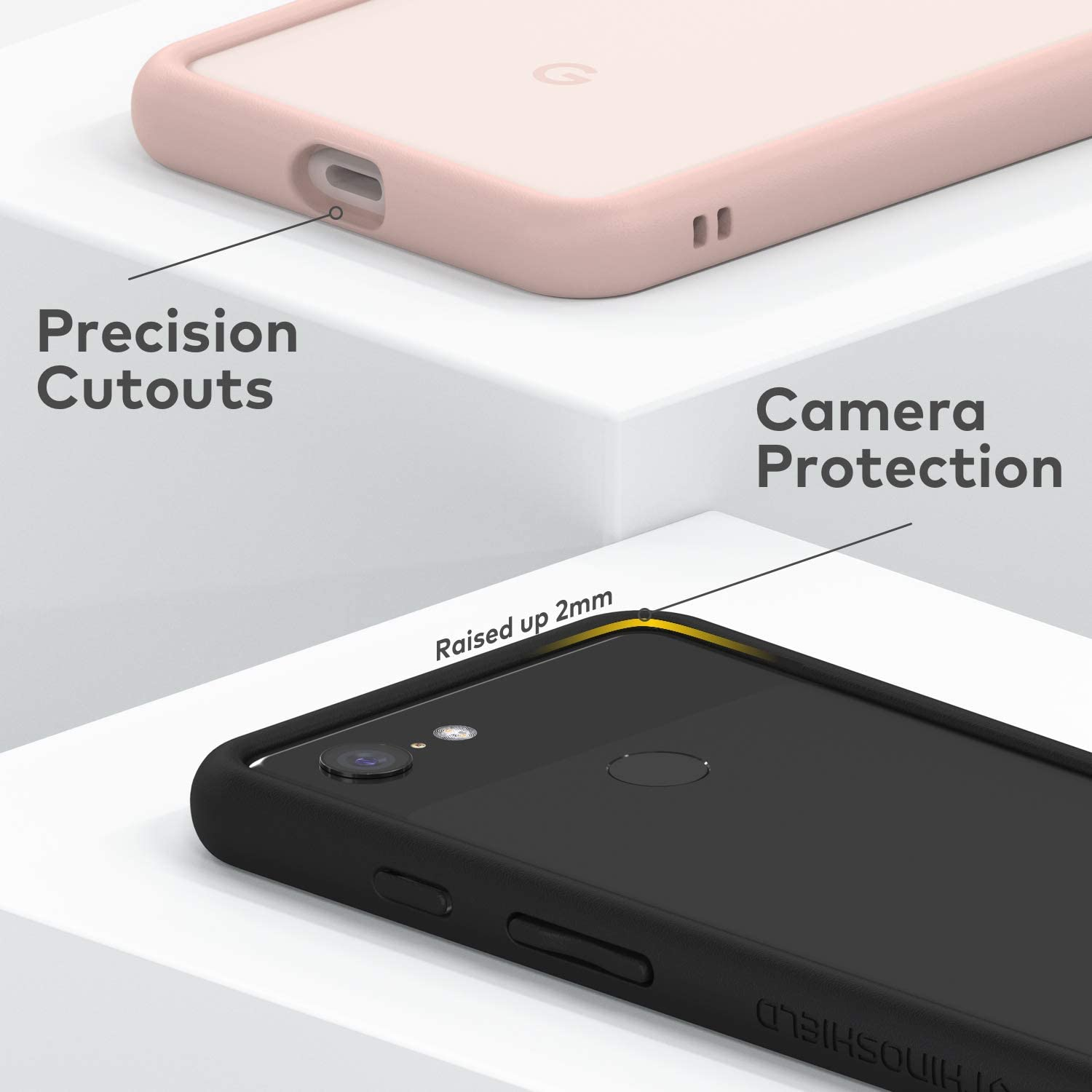 3.5M // 11ft Drop Protection - White Shock Absorbent Slim Design Protective Cover RhinoShield Bumper Case Compatible with Google | CrashGuard Pixel 3 XL