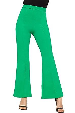 977f6e3017267e WearAll Women's Plain Flared Wide Leg Trousers New Ladies Pants Crepe Basic  High Waisted - Green