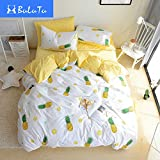 BuLuTu Pineapple Print Pattern Premium Cotton Full Bedding Collections With 4 Corner Ties Queen Bedding Duvet Cover Sets For Boys Girls White(No Comforter)