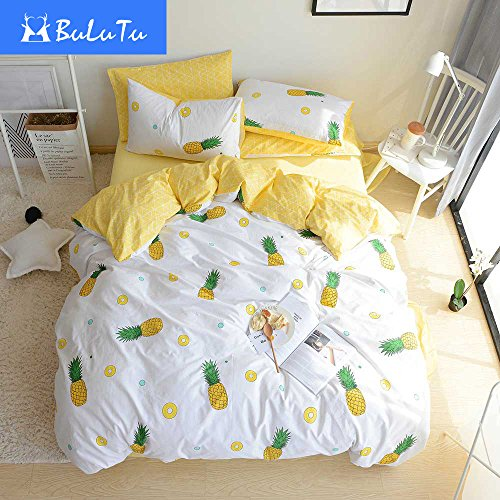 Review BuLuTu Pineapple 3 Pieces Kids Bedding Duvet Cover Sets Queen Cotton Cream/Off White For Boys Girls,Super Soft Bedding Collections Full,Love Gifts for Her,Him,Teens,Daughter,Child,Friend,No Comforter