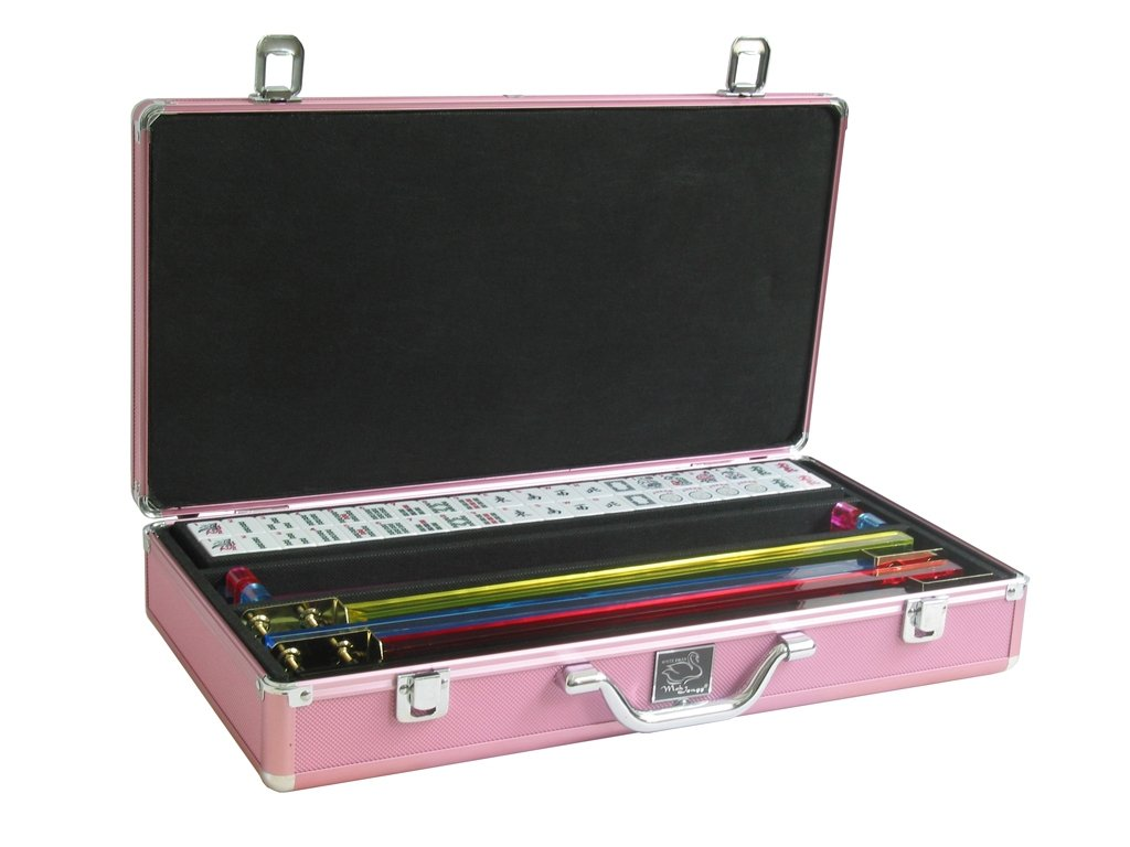 White Swan Mah Jongg (TM) - Mahjong Game Set (White Tiles, Pusher Arms, Aluminum Case, Pink) by White Swan Mah Jongg