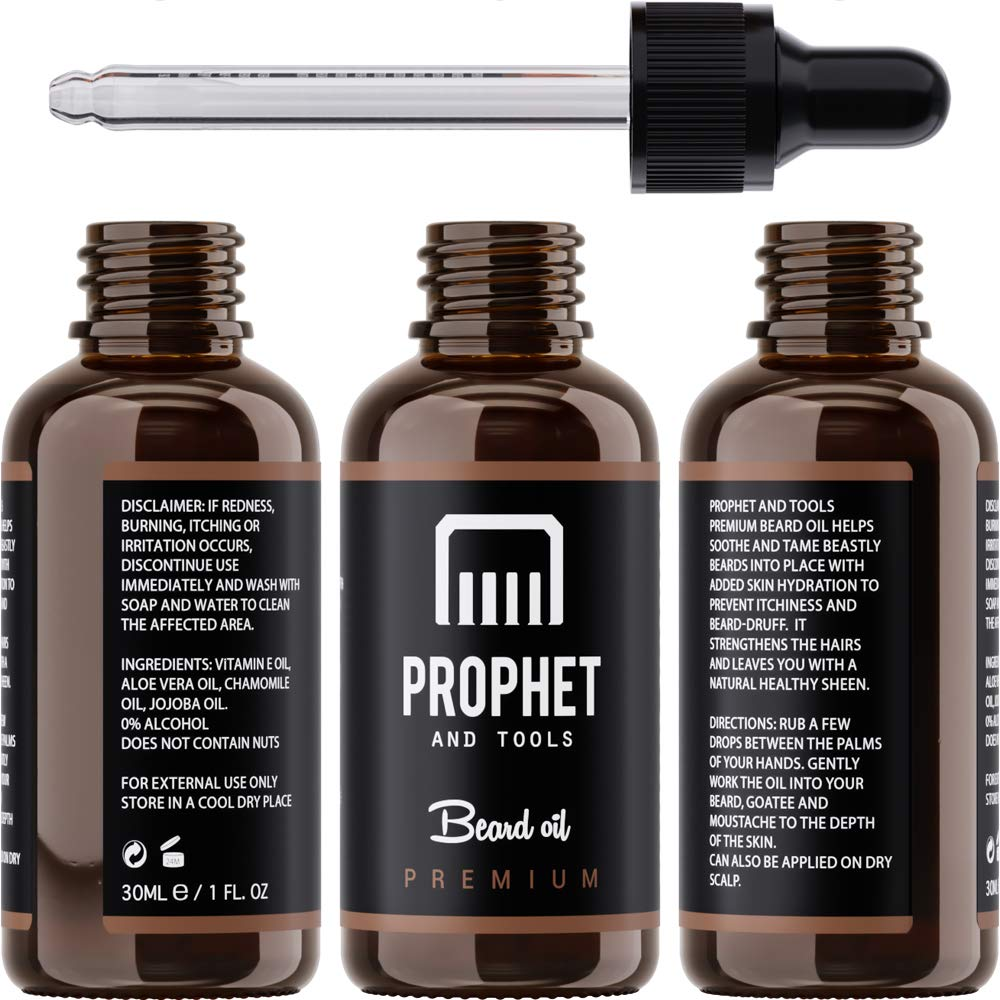 Premium Unscented Beard Oil and Comb Kit for Thicker Facial