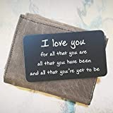 ''I Love You For All That You Are'' Engraved Wallet Inserts, Metal Wallet Card Insert, Mini Love Note Message, Deployment Gift for Him, Anniversary Gifts for Men, Boyfriend, Husband Gifts from Wife