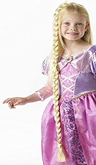 Peluca con trenza para disfraz infantil de Rapunzel de Disney